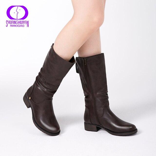 AIMEIGAO Yeni Sonbahar Kış Orta buzağı Kadın Çizmeler Flats Topuklar Sıcak Peluş PU Deri Çizmeler Yüksek Kalite Diz Yüksek çizmeler