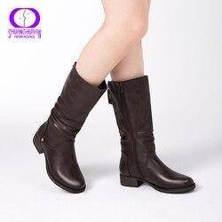 Aimeigao novo outono inverno meados de bezerro botas femininas apartamentos saltos quentes de pelúcia botas de couro do plutônio botas de alta qualidade na altura do joelho botas altas