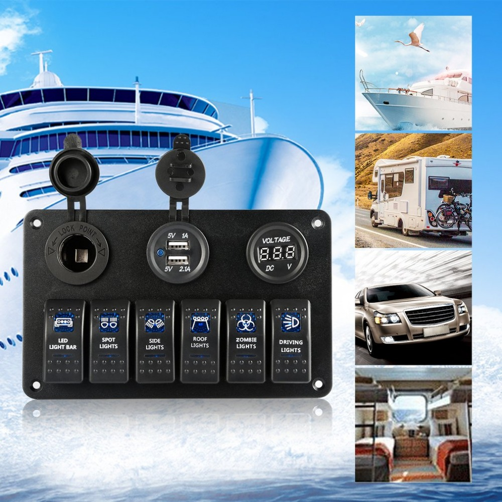 New 6 Gang Car Marine Boat Circuit Blue LED On/Off Rocker Switch Panel IP68 Waterproof 6 Rocker Switch Overload Protection