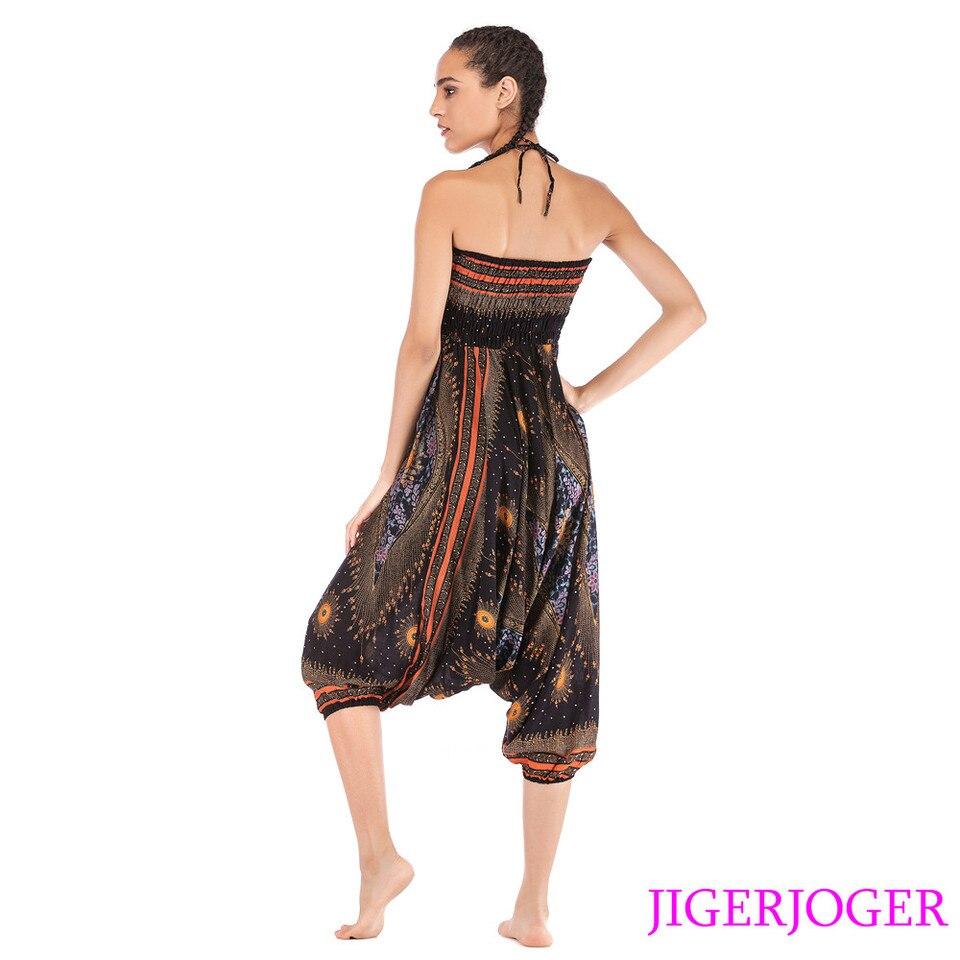 Jigerjoger Thai Black Gold Peacock Eye Printed 2 In 1 Jumpsuit Harem Pants Strappy Halter Beach Loose Baggy Pants Yoga Leggings Yoga Pants Aliexpress