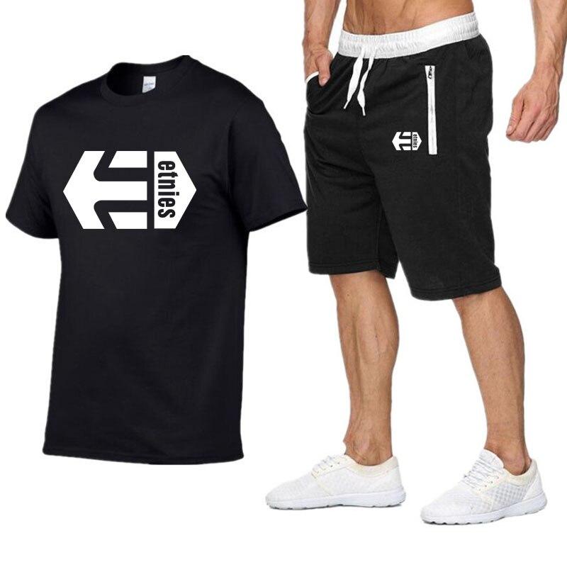 Latest Model Etnies Men's Casual T-shirt Gyms Fitness Pants Men Summer Special Offer Men Sets T-shirts + Two-piece Pants Sets