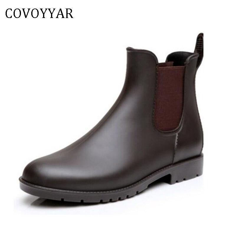 eecbde812ad COVOYYAR Mulheres Moda PVC Botas de Chuva De Borracha Curto Tornozelo  Rainboots À Prova D