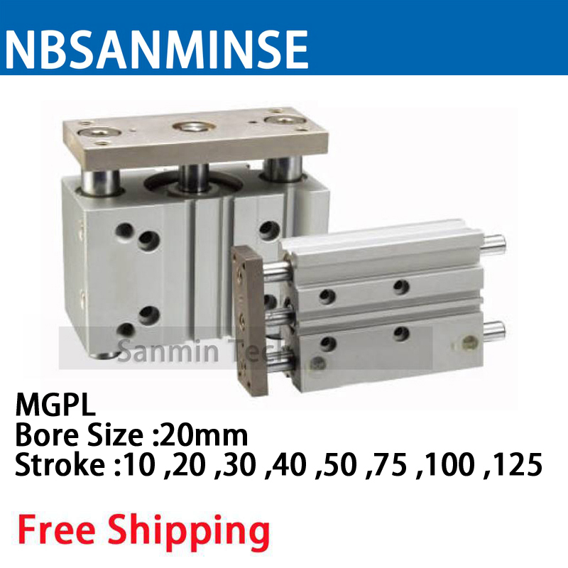 MGPL Bore Size 20 Compressed Air Cylinder SMC Type ISO Compact Cylinder Miniature Guide Rod Double Acting Pneumatic Sanmin mxj double acting pneumatic compressed air slide table cylinder compressor parts smc type cylinder sanmin