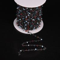 2mm Multicolor Glass Cube Beads Rosary Chain Mixed Glass Cube Beads Link Gun Black Brass Wire