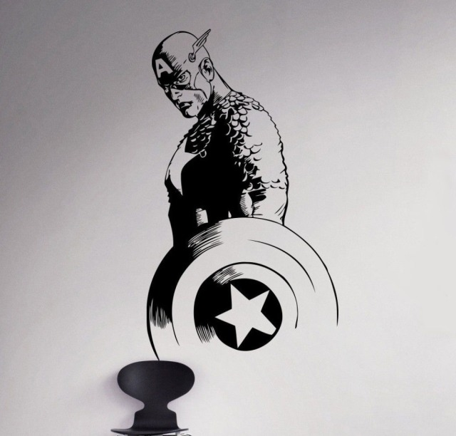 Removable Movie Captain America Vinyl Decal Superhero Wall Sticker Marvel  Home Living Room Decor Vinilos Kids