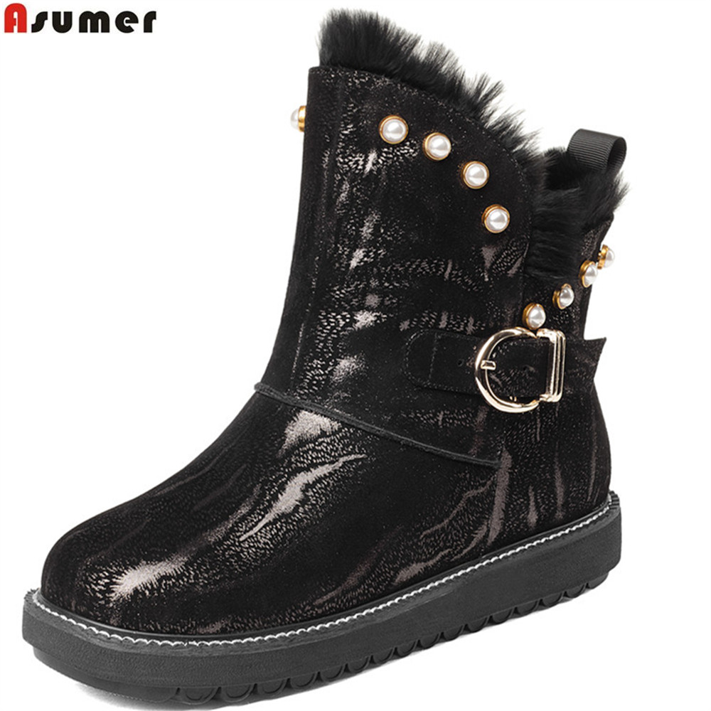 Asumer black fashion women boots round toe flat white genuine leather snow boots fur keep warm buckle ankle boots big size 34-42