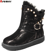 Asumer Black Fashion Women Boots Round Toe Flat White Genuine Leather Snow Boots Fur Keep Warm