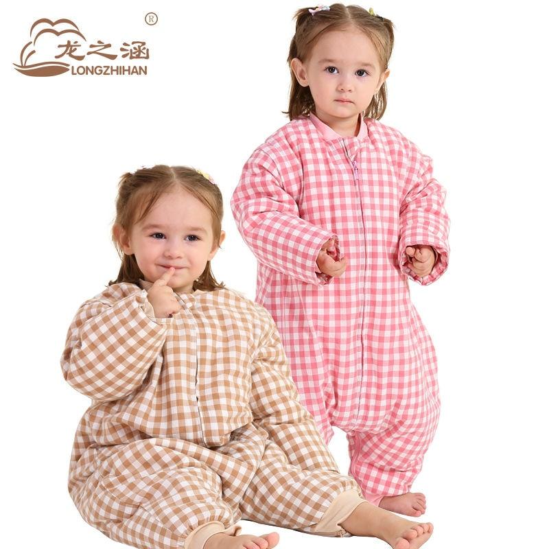 ФОТО Baby Slaapzak 100% Cotton Washed Infant Sleeping Bag Baby Winter Brand Children Sleep Sack Straddle Envelope For Newborns