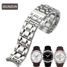 ISUNZUN Men's Watch Bands For Tissot 1853 Qutub T035 Strip Steel Watch Strap T035627A High Quality Watchband Watches Accessories все цены