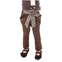 2016 Autumn Girls Pants Fashion Brand Girls Pencil Pants Solid Color Casual Long Pants Chiffon Leopard