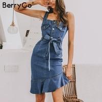 BerryGo bodycon dresses women denim dress summer dress Elegant ruffle mermaid buttons sash dresses Sexy streetwear jeans vestido