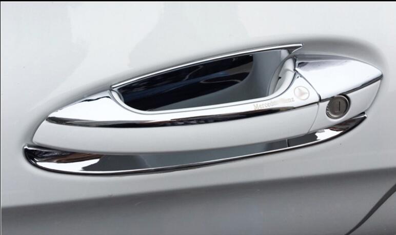 Há logotipo Porta Punho Tigela Guarnição Para Mercedes Benz ML/GL/GLE/GLK/ABL/GLS/C Class W204 X204 Acessórios Do Carro ABS Cromo
