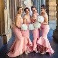 Потрясающие С Плеча Розовый Невесты Платья 2016 Высокий Низкий Длинные Кружева Русалка Свадебные Платья Партии Формальные Платья BE59