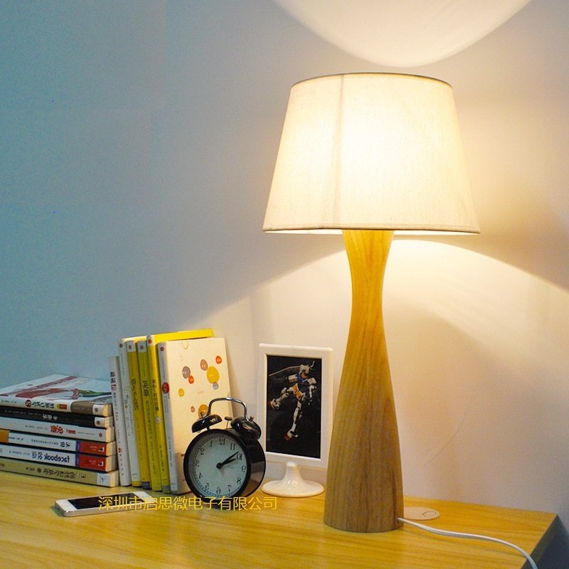 Creative Modern Table Lamp Wooden Base Book Lights Desk Night Light E27  Holder Retro Bedside Lamp