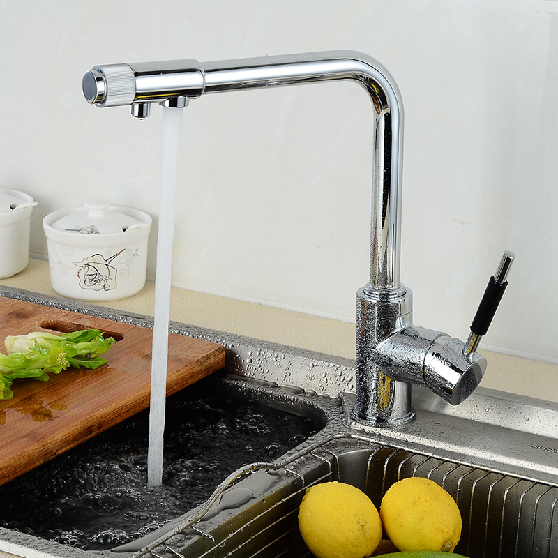 Fapully Kitchen Faucet with Filtered Water Mixer Crane 3 way hot and cold Chrome Brass Faucet Sink Tap Faucets 702-33C flg brass kitchen faucet mixer cold and hot kitchen tap chrome single hole water tap kitchen sink 674 33c