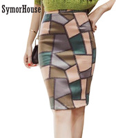 2017 Autumn Suede Skirts Red Green Plaid Pattern Geometry Print High Waist Women Knee Length Sexy