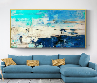 Hand painted moderne abstrait canvas oil paintings Fashion home design acrylic painting royal blue wall pictures for living room