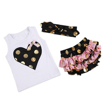 2017 New Hot Lovely Spot Baby Girl Set Bow Love Vest Shorts Headband Three Pieces Golden Dotted High Quality