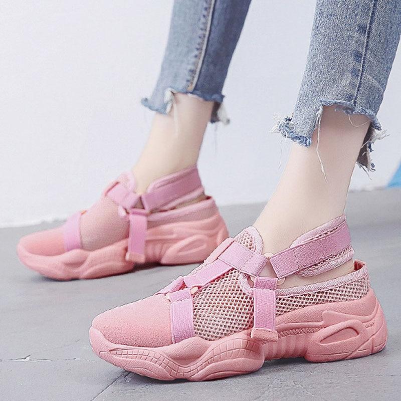 VTOTA Women Platform Wedge Sandals Walking Shoes Summer Casual Air Mesh Sneakers Breathable Footwear