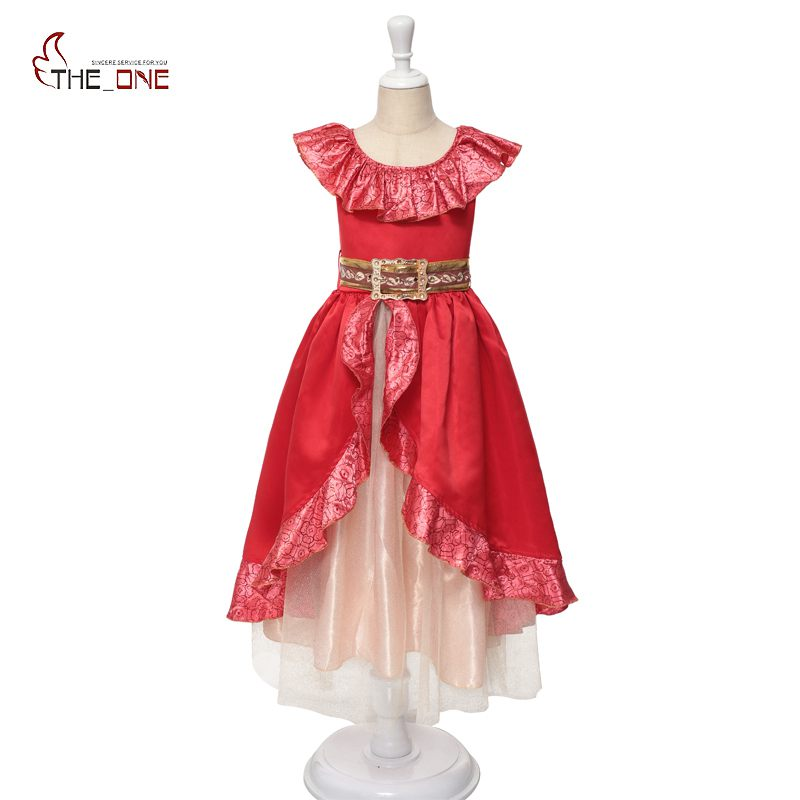 MUABABY Girls Elena Dress 어린이 엘레나 Avalor Princess Cosplay Costume Kids 스팽글 디럭스 파티 드레스 Xmas Halloween Gift