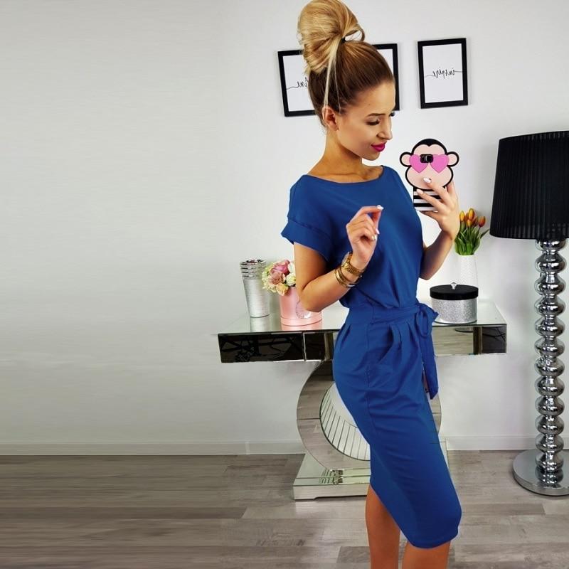 19 New Summer Fashion Women Casual Short Sleeve O-Neck Straight Black Gray Blue Dress Loose Plus Size Pocket Cotton Midi Dress 15