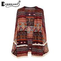 Everkaki Women Boho Floral Print Tassel Open Stitch Coat Jackets Loose Vintage Patchwork Bohemian Coats Jacket