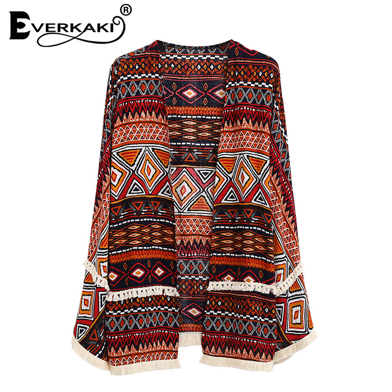 Everkaki Women Boho Floral Print Tassel Open Stitch Coat Jackets Loose Vintage Patchwork Bohemian Coats Jacket Femme 2018 New
