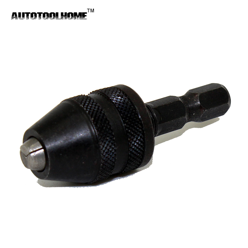AUTOTOOLHOME 1/4 Inch Hex Shank Keyless Drill Bit Chuck Quick Change Screwdriver Impact Driver Adapter Converter Cap 0.2-3mm 1 4 inch keyless drill bit chuck quick change adapter converter hex shank ali88