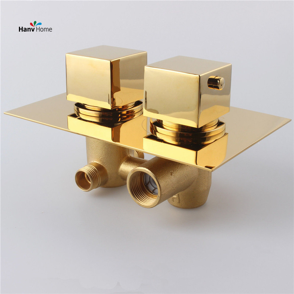 Gold Solid Brass Concealed Thermostatic Shower Valve Mixer Tap Round ...