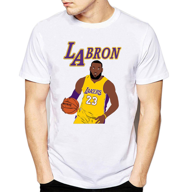 newest 1d6ca 21210 US $8.36 47% OFF|Funny Lebron James Mens Laker King 23 Tee T Shirts  Comfortable White T shirt LosAngel LA Fans Gift o neck short sleeve-in  T-Shirts ...