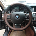 Car- Styling New Anti Slip Swede Leather Steering Wheel Stitch on Wrap Cover For BMW 525li 2014