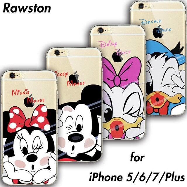 4e475eb51ad Mickey Minnie Mouse cubierta del teléfono para iPhone 7 caso de TPU suave  goma de silicona