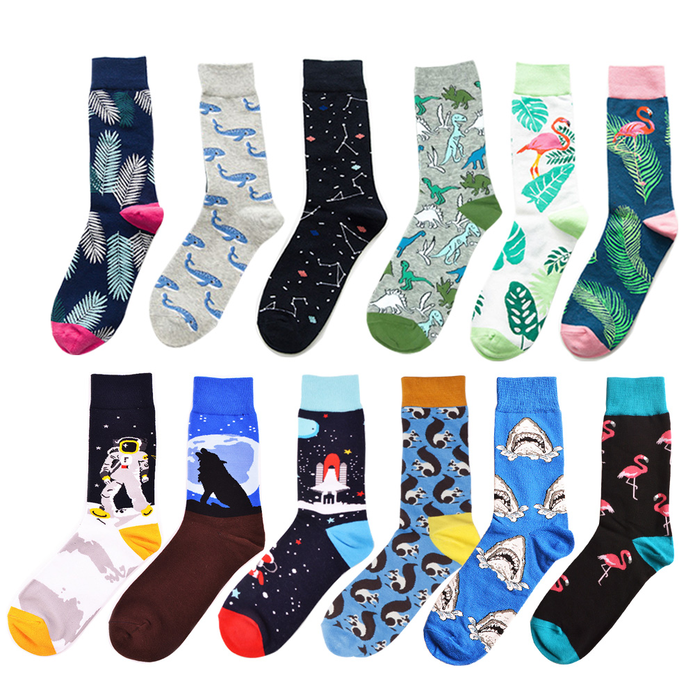 Colorful Casual Men   Socks   Happy Funny Dinosaur Shark Cotton Dress   Socks   Novelty Male Space Astronaut Constellation Wedding   Socks
