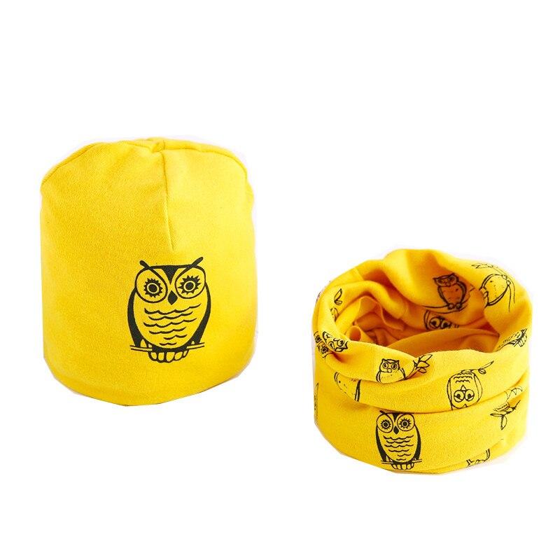Autumn Winter Cotton Baby Girl Scarf Cap Star Owl Print Boy Hat Scarf Sets Kids Warm Neck Collar Cartoon Children Hats Scarf Set