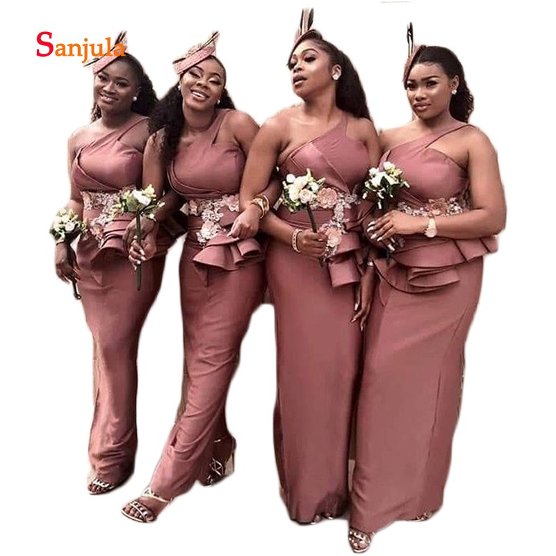African   Bridesmaid     Dresses   Sheath One Shoulder Appliques Beaded Tiered Maid of Honor   Dress   Back Slit Party Gowns damigella D451