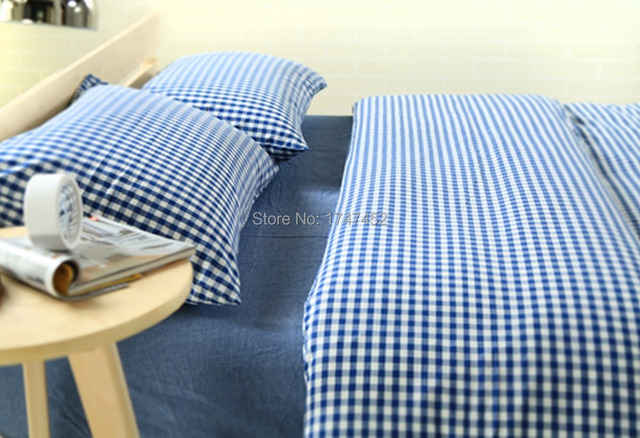 100 Cotton Washed Yarn Dyed 1cm Blue Check Duvet Cover Set 1 Quilt 2