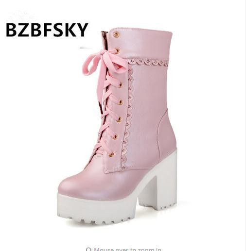2019 Ruffles Women Wedding Boots Shoes Black White Pink Lace Up Chunky Block Square High Heels Thick Platform Gothic Boots