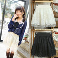 2015 Women Elastic Waist Bubble Tutu Floral Lace Skirts Fashion Beautiful Tulle Mini Skirt Black/Apricot Color
