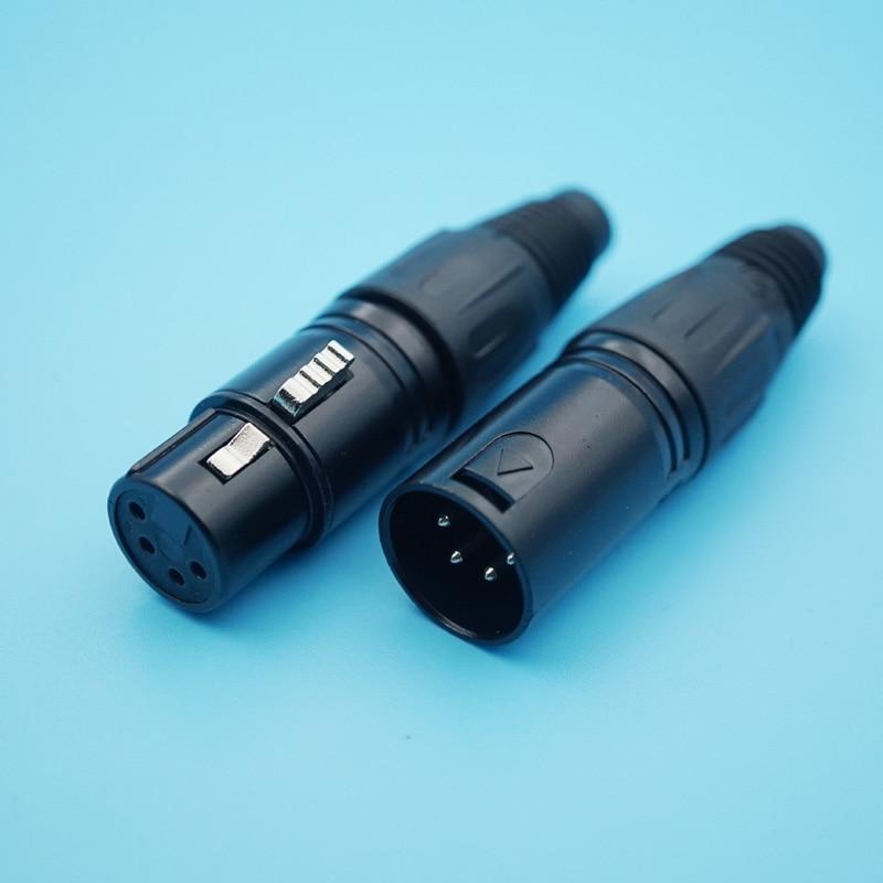 10pcs/lot Black 3 /4 /5 Pins XLR Male/Female Plug Socket Adapter Audio Panel Mount Connector XLR Converter Adapter Jack