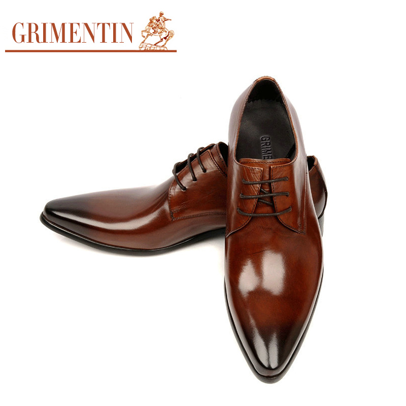 62e1840fadb1 GRIMENTIN Men Dress Shoes Handmade Genuine Leather Lace Up Black Brown  Italian Designer Wedding Flats Size 6.5 11 ox10-in Formal Shoes from Shoes  on ...