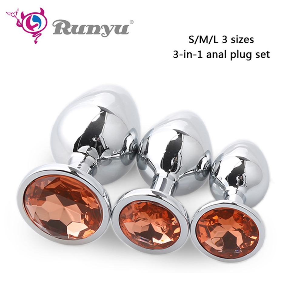 Runyu 3pcs/Set S&M&L Smooth Metal Anal Plug With Crystal Waterproof Anus Dilator Butt Plug Anal Beads Sex Toys for Men/Women 4 size anal cleaner hollow butt plug peep vaginal anus sex toy men women metal anal expand cleaning toy s m l a size