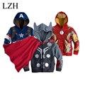 LZH Nuevo 2015 invierno ropa de abrigo niños chaqueta abajo Niñas chaqueta con capucha capa de Los Niños de dibujos animados de Alta Calidad.
