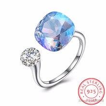LEKANI Anillo de plata de primera ley con cristales para mujer, sortija, plata esterlina 925, Diamante Individual, Multicolor, Simple