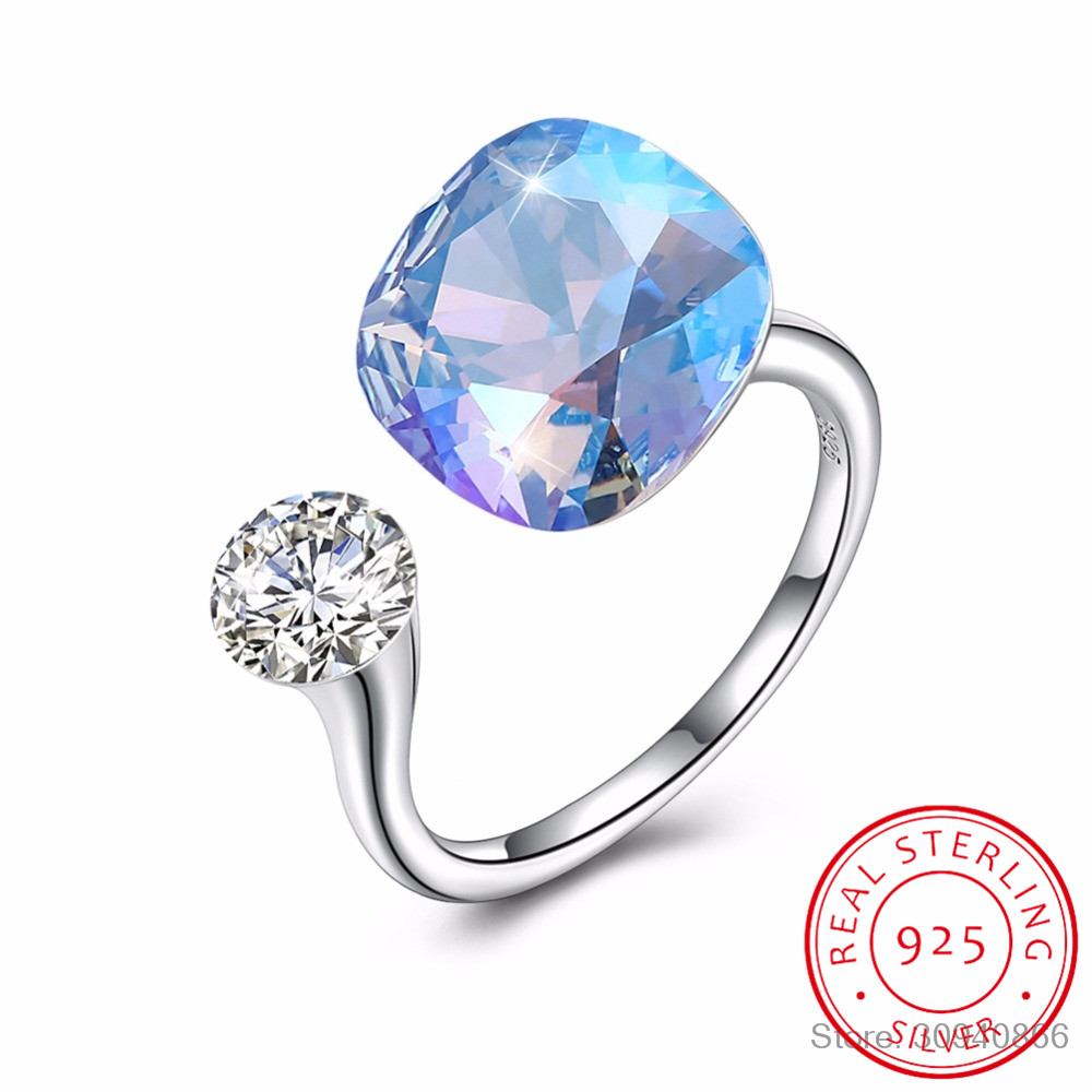LEKANI Crystals From Swarovski Rings 925 Individual Diamond-Studded Sterling Silver Rings Women's Multicolor Simple Rings Gift