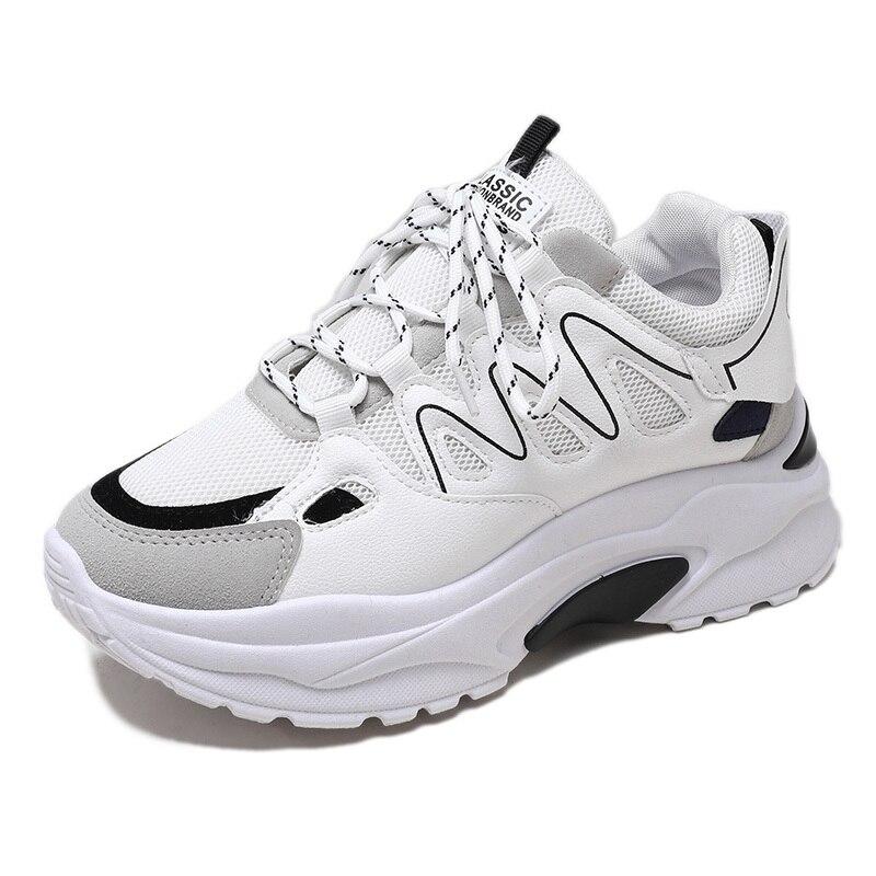 2019 Весенняя модная женская повседневная обувь замшевые кожаные туфли на платформе женские кроссовки Женская Белая обувь инструкторов Femme