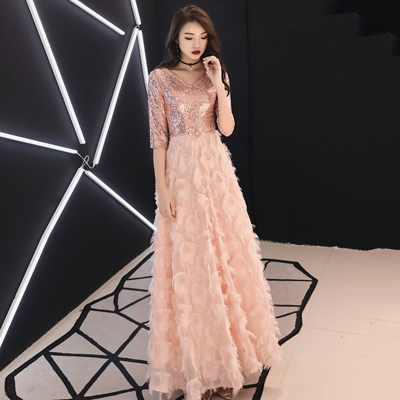 weiyin 2019 Pink Long   Evening     Dresses   A-Line Lace Women's Fashion V-neck Half Sleeve Party   Dress   WY1278