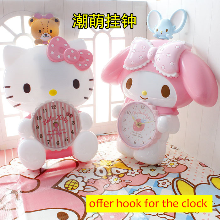 Us 39 85 The Bear Mouse Swing When Works Cartoon Hello Kitty My Melody Home Wall Clock In Wall Clocks From Home Garden On Aliexpress