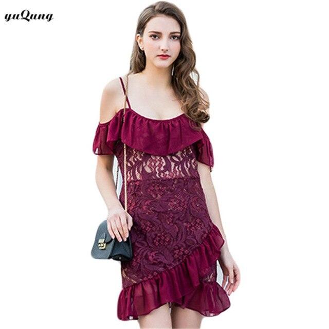 be41d0fe281 yuqung women off shoulder lace mini dress 2018 white summer straps slash  neck ruffles Sheath bodycon Party short dress O37