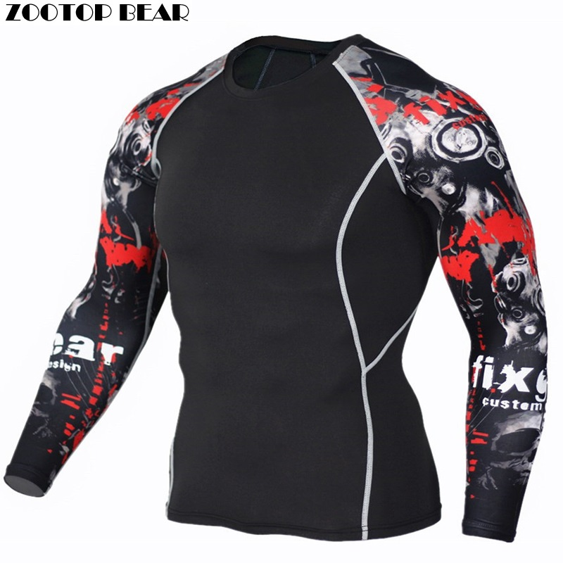 Crossfit Clothing Men Compression Tights Shirts Fitness Bodybuilding MMA Tops Tees Male Workout Costume 2017 New ZOOTOP BEAR martial arts