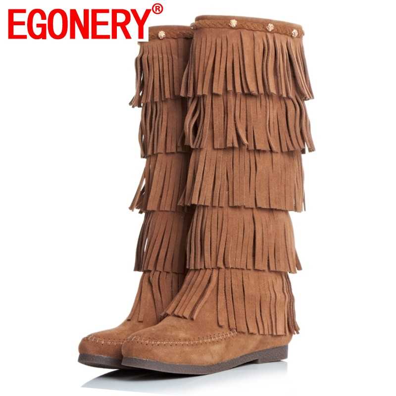 EGONERY shoes 2018 women knee high boots side zipper tassel fashion riding boots classic round toe low heels short plushEGONERY shoes 2018 women knee high boots side zipper tassel fashion riding boots classic round toe low heels short plush